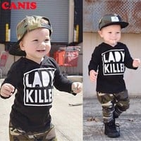 Toddler Kids Baby Boys Girls Outfits Clothes T-shirt Tops + Cargo Pants 2PCS Set