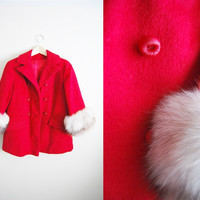 The Candy Cane - Vintage 60s Red Wool Arctic Fox Cropped Coat
