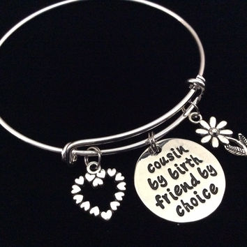 Cousin by Birth Friend by Choice Expandable Charm Bracelet Adjustable Bangle Trendy Reunion Gift