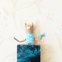 Cat Toy, Cloth doll Cat with fish ,art doll, OOAK doll, and cat bookmark