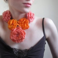 Coral and Orange Rose Necklace-Hand Felted-Wearable Art