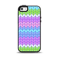 The Bright-Colored Knit Pattern Apple iPhone 5-5s Otterbox Symmetry Case Skin Set
