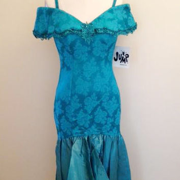 Vintage 1980's/90's Teal Off The Shoulder Long Prom Dress, Mermaid, Size Small