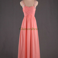 cheap floor length chiffon sweetheart prom dresses on sale elegant evening dress with swarovski crystals lace strap party gowns for girls