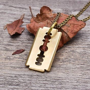 Brass Razor Blade Necklace