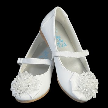 White Dress Shoes with Crystal Beads on the Toe & a Top Strap (Baby & Toddler Girls)