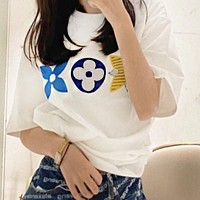 LV Louis Vuitton Popular Women Men Leisure Embroidery Short Sleeve T-Shirt Top