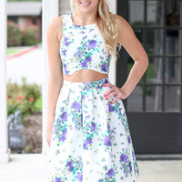 Two Piece Floral Dress - Purple