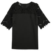 Black Lace Panel Short Sleeve Blouse