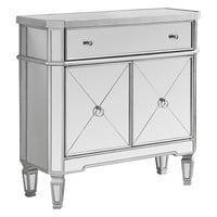 "Accent Table - 32""L / Brushed Silver / Mirror"