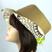 Reversible Beach Hat with Medium-Wide Floppy Brim | Neutral Tan Reverts to Flower Power Floral Print | Rain Proof