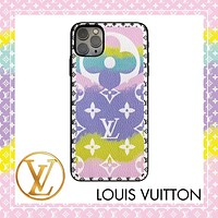 Onewel LV Case Louis Vuitton Clouds Gradient Colorful Monogram iphone shell iPhone 6 s 7 s 8 XS XR 11 Pro Max optional Purple pink