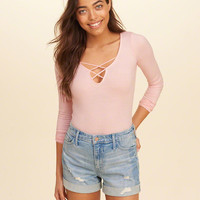 Girls Long-Sleeve Strappy Front Bodysuit | Girls New Arrivals | HollisterCo.com