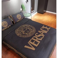 Home Decor Black VERSACE Blanket Quilt coverlet Pillow shams 4 PC Bedding SET
