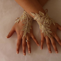 FREE SHİP Wedding Gloves,Champagne Lace Gloves, Fingerless,Costume Accessories,Bridesmaid Gift,