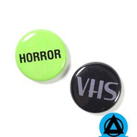 Horror VHS Pinback Button Set