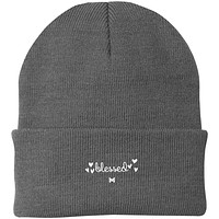 """""""Blessed"""" Embroidered Knit Cap / Beanie - Elegant"""