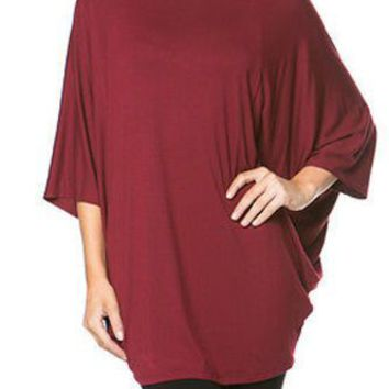 Loose Fit Oversize Poncho Kimono Sleeve Stretch Jersey Tunic Top