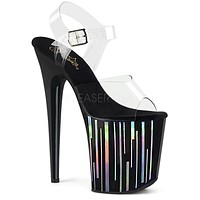 "Flamingo 808HP-1 Black Hologram Platform Sandal Shoe  8"" High Heels"