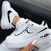 Nike Air Force 1 Shadow Fashion Women Men Casual Sport Running Shoes Sneakers White&Black