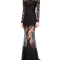 Elie Saab Paneled Sheer Lace Gown