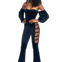 Shocking Velvet Ladder Cutout Jumpsuit