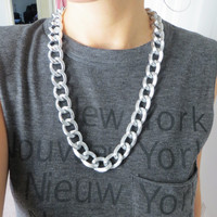 Chunky Smooth and Textured Layering Chain Statement Necklace