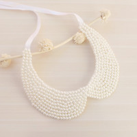 White Pearl Collar Necklace ,Peter Pan Collar Necklace ,Hand sewn