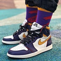 Bunchsun Air Jordan 1 x Dunk SB Buckled High-Top Wild Basketball Shoes