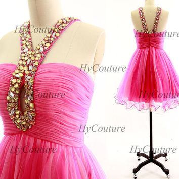 Homecoming Dress, Hot Pink Mini Prom Dresses, Tulle Short Prom Gown with Crystals Straps, Tulle Formal Dress, Wedding Party Gown