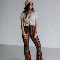 Between the Lines Bell Bottom Pant - Rust
