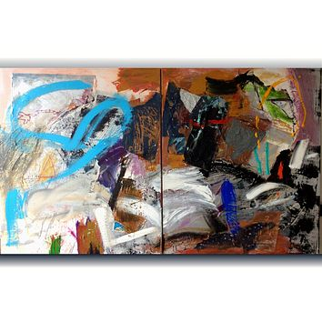 """2 """"From Memories 1."""" Mixed Media painting on stretched canvas diptych."""
