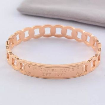 8DESS MK Michael Kors Women Fashion Hollow Plated Bracelet
