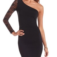 RUCHED LACE ONE SHOULDER DRESS