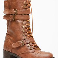 Chestnut Faux Leather Chunky Mid Calf Boots