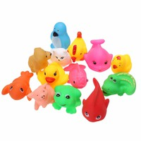13Pcs Lovely Mixed Animals Colorful Soft Rubber Float Squeeze Sound Squeaky Bathing Toy High Quality for Baby Toys & Hobbies