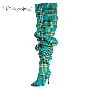 Limited Edition Pink Palms Shoes Women Pleated Boots in Sexy Winter Over the Knee Boots Women High Heels Plaid Boots Green Macchar Cosplay Catalogue