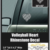 Volleyball Heart Rhinestone Decal