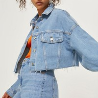 MOTO Hacked Off Crop Denim Jacket | Topshop