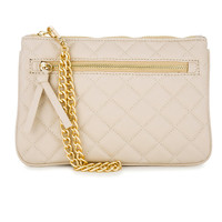 Quilted Faux Leather Clutch Beige