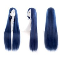 """MapofBeauty 40"""" 100cm Blue/Black Long Straight Cosplay Costume Wig Fashion Party Wig"""