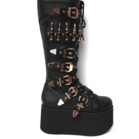 Multi Buckles & Bullet Detail Platform Military Knee High Boot In Black | Thirteen Vintage