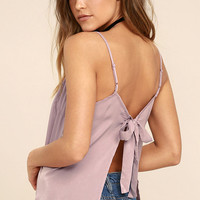 Bow Me Away Mauve Backless Satin Top
