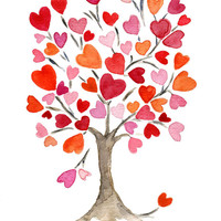 art print Hearts tree No. 2 original water color painting, Valentine, anniversary, weddings, girly, dorm decor, mothers day, personalize
