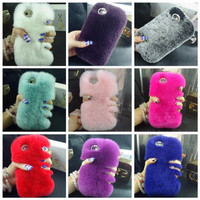 Luxurious Soft Rabbit Fur Cover for iPhone 5 + 6