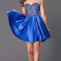 Strapless Sweetheart Dress with Lace and Rhinestone Embellished Bodice