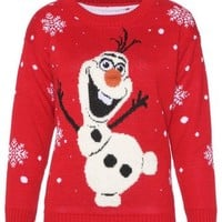 Womens Ladies Snowman Olaf Knitted Christmas Jumper With 3D Nose Sweatshirt Pullover
