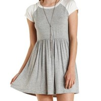 Heather Gray Combo Raglan Sleeve Babydoll Dress by Charlotte Russe