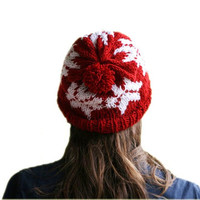 Red Slouch Knit Hat with White Snowflakes Pom Pom - Christmas Gift - Winter Fashion - Chunky Beret - Beanie - Women Teens Accessories