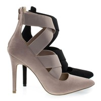 Akira143 Nude By Wild Diva, High Heel Pump Ankle High Booties w Criss Cross Elastic Straps